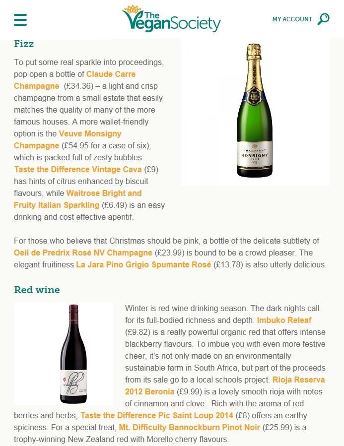 Festive Drinks Blog Post for the Vegan Society