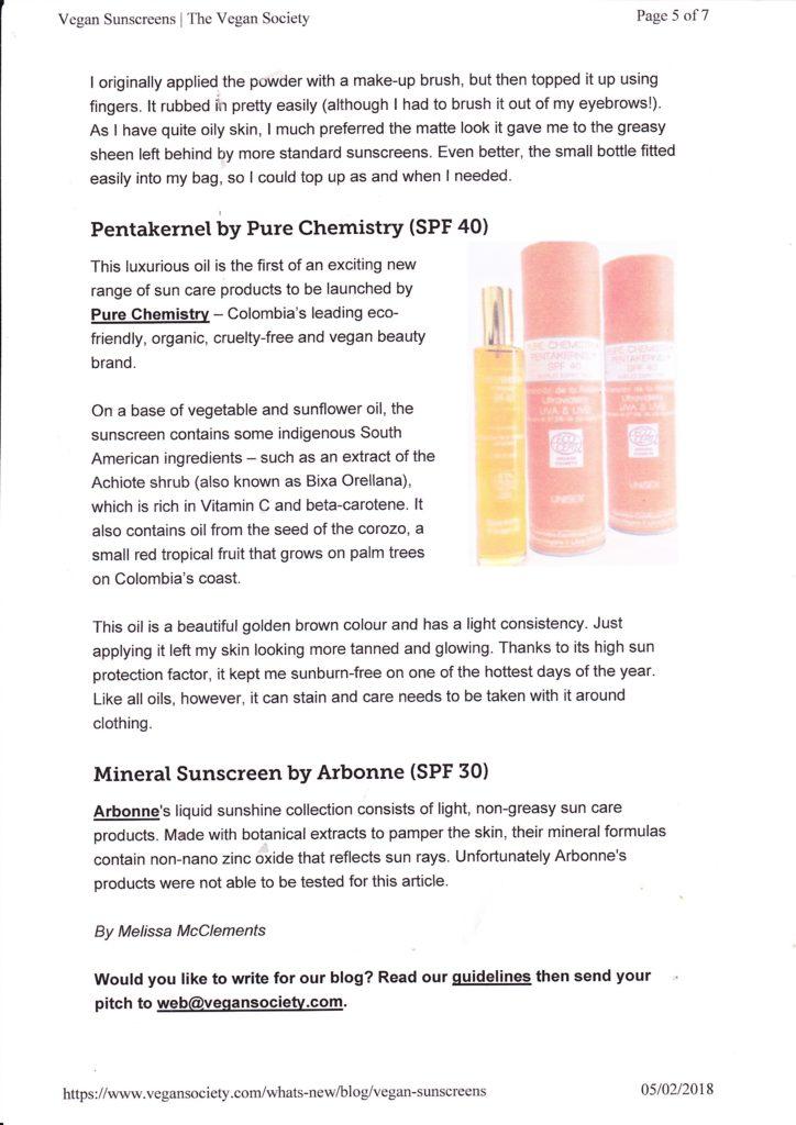 Blog post on animal-free sunscreens for the Vegan Society