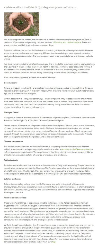 Sacred Earth blog post - Soil Bacteria