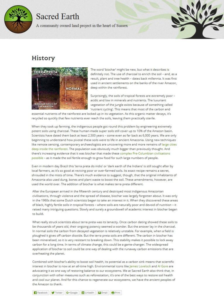 Sacred Earth web page - Biochar History