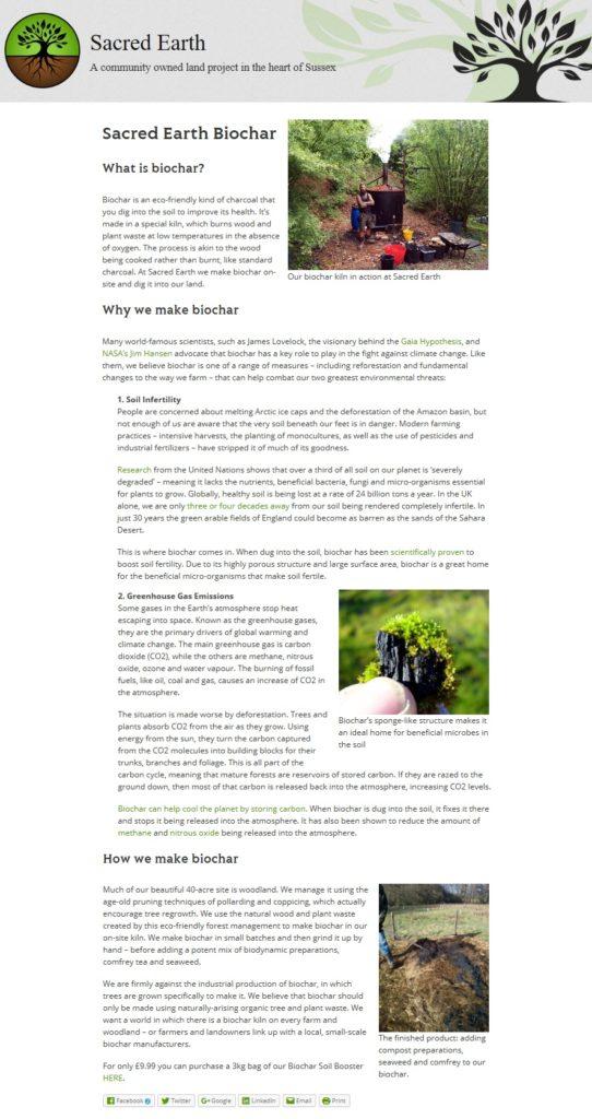 Sacred Earth web page - Biochar Intro