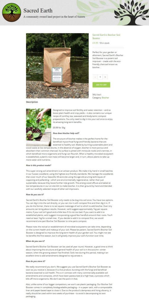Sacred Earth web page - Biochar Shop