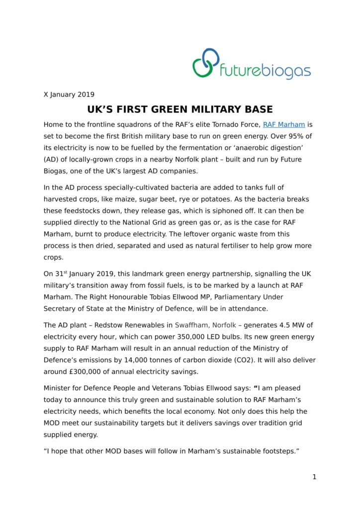 Green Military Base Launch Press Release