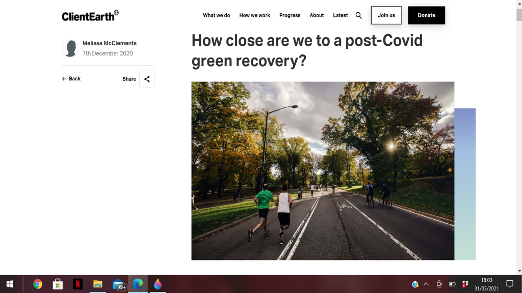 Feature on post-Covid-19 green recovery for Client Earth